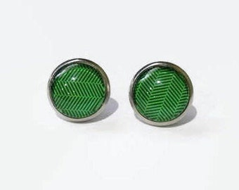 Green Print Studs, Green Earring Studs, Green Print Earrings, Green Earring Posts, hypoallergenic studs, 12mm studs, stainless steel studs