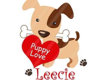 Puppy Love Valentine Digital Image for iron-ons, heat transfers, T-Shirts, Onesies, Bibs, Towels, Aprons, DIY YOU PRINT