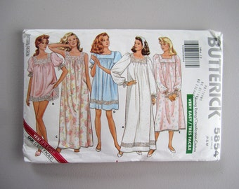 Butterick 5854 UNCUT Misses' Nightgown & Shorts Size 6-14 Petite-Small-Medium -  Very Easy Sewing Rating - Vintage Sewing Pattern - 1987