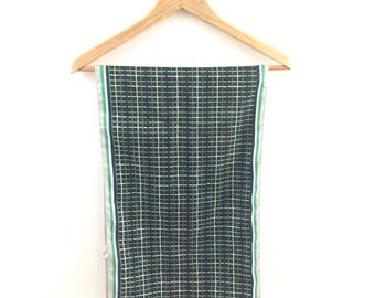 Vintage 1950's Italian Shades of Green Striped Chic Scarf