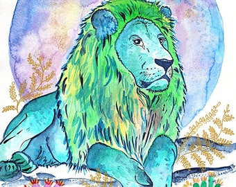 "Art Print Watercolor Illustration ""Lion in the cactuses"""