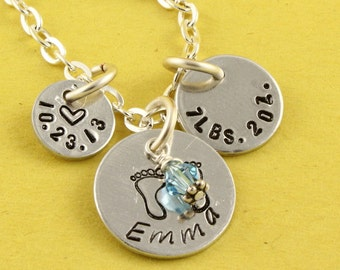 Mother's Day Gift - New Baby Necklace - Baby Stats Necklace - Personalized Necklace - Custom Necklace - Gift For Mom - Baby Name Gift