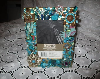 Jeweled Picture Frame Turquoise