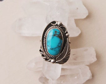 VC-205 vintage Native American sterling silver and turquoise ring