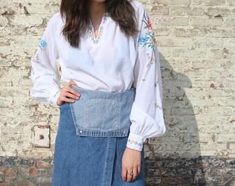 Hippie blouse, floral top, vintage blouse