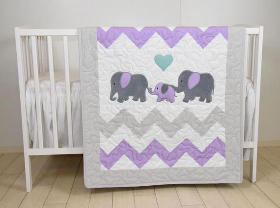 Elephant Family Baby Quilt, Chevron Gray Purple Toddler Blanket, Handmade Crib Bedding for Baby Boy or Baby Girl