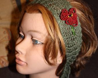 Headband fine hair decor red flower