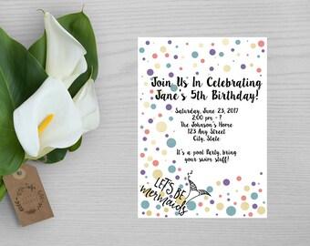 Lets Be Mermaids Birthday Invitation-Mermaid Birthday Invitation-Swim Party Birthday Party Invitation-Multicolored Birthday Party Invite