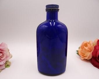1950s Vintage Blue Coral Cobalt Blue Glass Bottle Compackage Original Top - Auto Wax