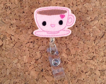 Badge Reels, COFFEE Badge Reel, FELT Tea Cup Badge Reel, Retractable ID Name Holder, Nurse Badge,  Teacher Gift, 282
