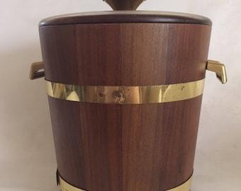 Vintage Mid Century Modern Wood Ice Bucket