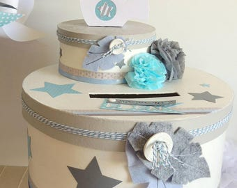 TO order - urn luxury bird and Blue Star pastel white and grey