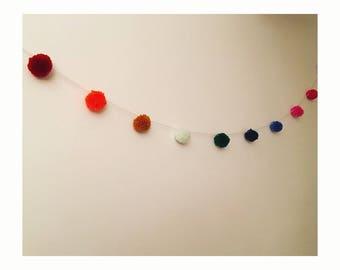 Handmade Multicoloured Pom Pom Garland