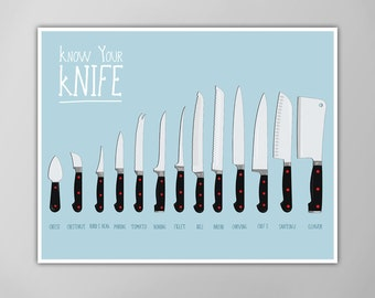 Kitchen Knife Chart, Know Your Knife Art Print, Kitchen Decor, Knife Chart Print, Kitchen Art, Knife Art Print, Kitchen Decor, 11x14 Print
