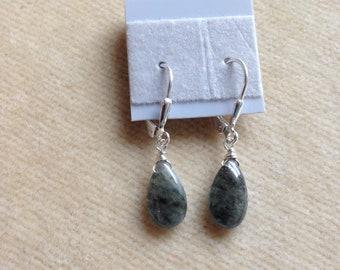 Moss Green Labradorite Sterling Silver Leverback Earrings 1165