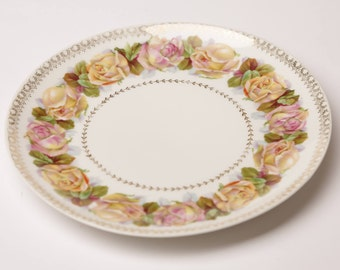 Vintage Zeh, Scherzer Co. (Z.S. & Co) Bavaria Pink and Yellow Rose Porcelain Plate