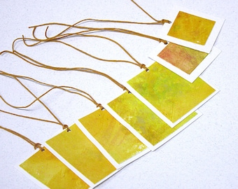 Hand-painted gift tags -- set of 7 yellow tags GT-24