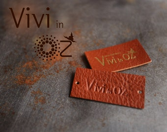 Custom Leather Labels - Make label with your own design - Vivi in Oz