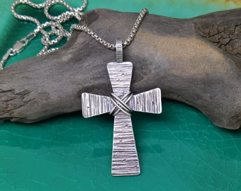Mens Hammered Cross Necklace, Mens Sterling Silver Cross, Forged Cross, Rustic Cross, Cross Jewelry,Distressed,Men's Cross,Christian Jewelry