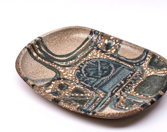 Large Modernist Wax Resist Platter or Bowl, Lapid Israel 1960s