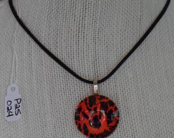 Hand Painted 25MM Glass Bead Pendant  - P25-024