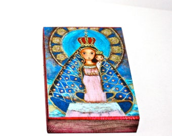 Our Lady of El Cobre - Aceo Giclee print mounted on Wood (2.5 x 3.5 inches) Folk Art  by FLOR LARIOS