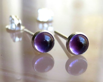 Natural Amethyst Stud Earrings / Purple Gemstone Studs / Everyday Earrings / Small Studs