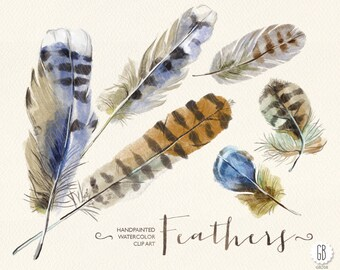 Watercolor feathers, hand painted feather, png clip art, watercolor invite, diy invitation, artwork, print art, tribal, party stationery