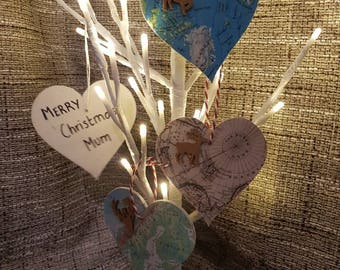 Christmas Tree Decoration North Pole Map can be customised Santa's grotto ornament heart shaped personalised