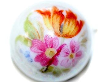 Button - Porcelain Floral Design Ball - Small