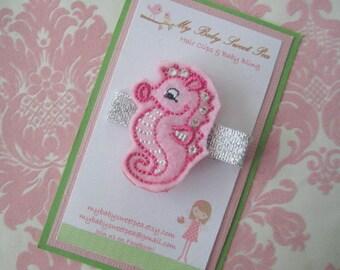 Girl hair clips - seahorse hair clips - girl barrettes - summer barrettes