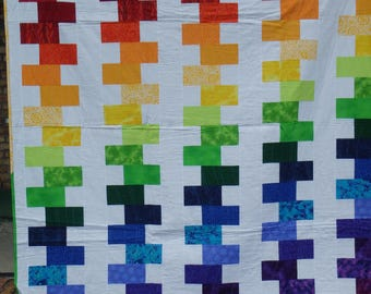 modern quilt, double bed quilt, rainbow quilt