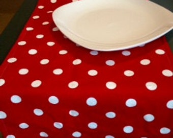 Sale! mickey mouse party,wedding polka dot  red and white table runner