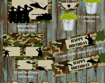 Army Party Package, Army Birthday Party, Army Party Supplies, Army Centerpieces, Army Cupcake Toppers, Camouflage Birthday Party Package