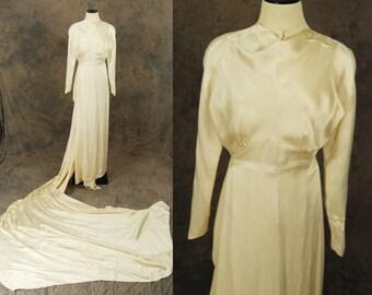 vintage 30s Wedding Gown - Ivory Silk Dress - 1930s Wedding Dress with Train Sz XS