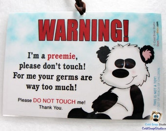 No Touching PREEMIE Baby Car Seat Infant Carrier Sign - Panda Bear - Car Seat Tag for Premie, Premies