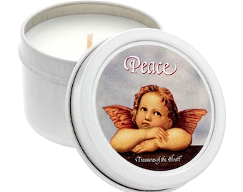 2 Oz. PEACE Angel Candle in Silver Tin... Soy, Organic with a Tropical Citrus Scent!