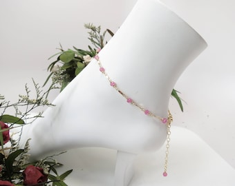 Pink Sapphire Anklet, September Birthstone, Pink Gemstone In Gold Filled-Sterling, 8.75-10.25 Inches Length, Sapphire Jewelry, Wire Wrapped
