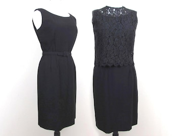 60s Little Black Sheath Dress separate Lace Top - Cocktail Dress, Formal Dress - M-L