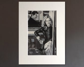 KATE MOSS wall art - giclee print of 'London Baby!' acrylic painting by Stephen Mahoney - portrait of British fashion icon on London tube