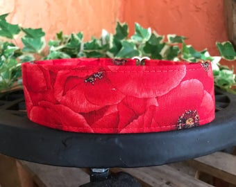 Red Poppies Fabric Dog Collar