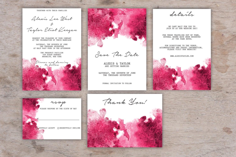 Aquarell Hochzeit Einladung Hochzeitseinladung Vorlage