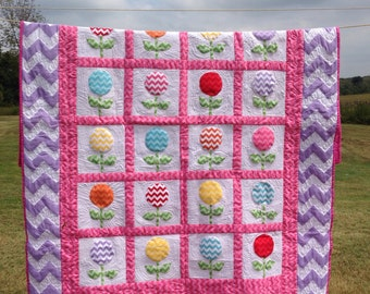Chevron Girls Twin Size Quilt in Pinks and Lavender