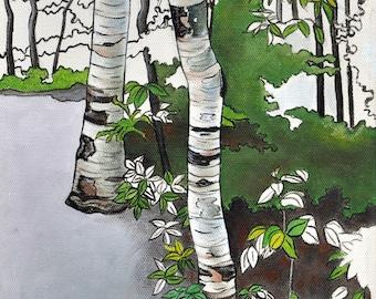 Forest Art Print, Nature Wall Art, Woodland Art, Birch Trees Art Print, Camping Wall Art, 8 x 10 Art Print, Ontario Parks Art, Forest Green