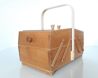 Vintage Wooden Sewing Box.