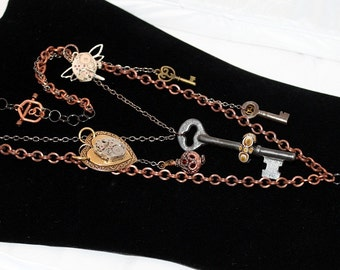 steampunk jewelry, mixed metals, statement necklace, multiple chain necklace, skeleton key necklace, antique key jewelry, lampwork key bead