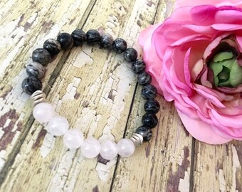 Gray Spiderweb Jasper Rose Quartz Bracelet