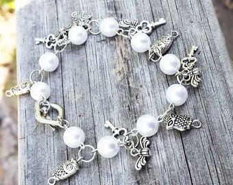 Sorcerer's Stone Bracelet|Harry Potter Charm Bracelet|Kids Charm Bracelet|Harry Potter Charm Bracelet|Owl Bracelet|Key Bracelet