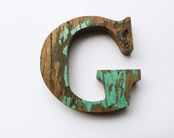 """Beach Decor Wooden LETTER """"G"""" Vintage Style Nautical by SEASTYLE"""