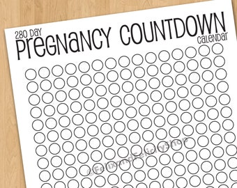Printable Pregnancy Countdown Calendar, 280 Days, 9 Month, Maternity, Due Date, Pregnant, Baby Countdown, Printable Baby Calendar, Print